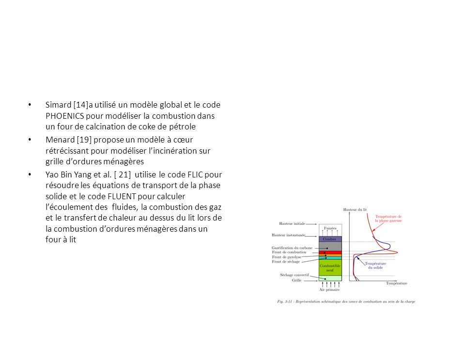 Simard [14]a utilisé un modèle global et le code PHOENICS pour modéliser la combustion dans un four de calcination de coke de pétrole